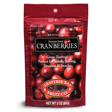 Traverse Bay Dried Cranberries 3oz, (12pk)