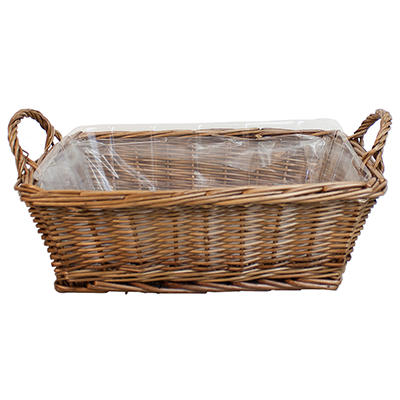 Floralife Large Rectangular Willow Basket with Liner - 30 ct.