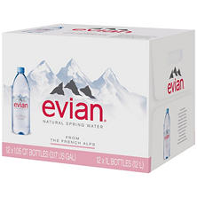 Evian Natural Spring Water (1L bottles, 12 pk.)