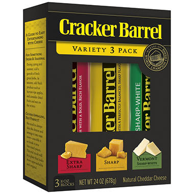 Cracker Barrel Cheddar Cheese Variety Pack - 8 oz. - 3 pk.