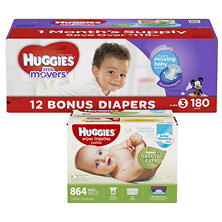 Huggies Little Movers Pick 2 Diaper & Wipe Bundle (Choose Your Size)