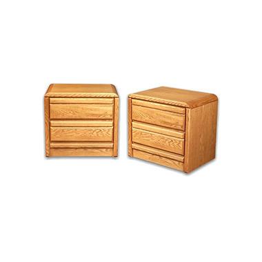 American Sleep Oak 2-Drawer Nightstands - Set of 2.
