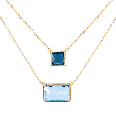 295008796b289f Sky Blue and London Blue Topaz Bezel Set Pendant in 14K Yellow Gold - Sam's  Club