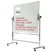 "MasterVision Glass Revolving Easel, 59"" x 47.5"", Silver Frame"