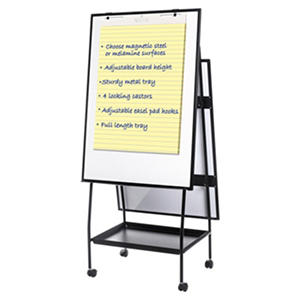 "MasterVision Creation Station Melamine Dry Erase Board, 29.5"" x 74.875"", Black Frame"