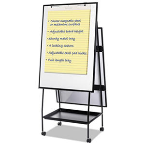 "MasterVision Creation Station Magnetic Dry Erase Board, 29.5"" x 74.875"", Black Frame"