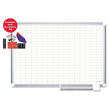 "MasterVision - Grid Platinum Plus Dry Erase with Accessory, 1x2"" Grid, 48 x 36 - Silver"