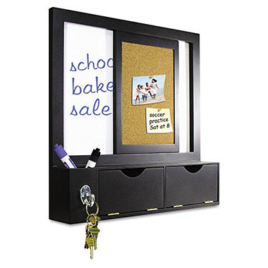 "MasterVision - Combo Dry Erase and Cork Station with Storage, 14 1/4"" x 10 1/4"", Black Frame"