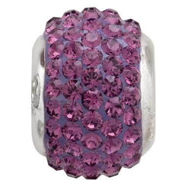 Amethyst Genuine Swarovski Crystal Charm Bead in Sterling Silver