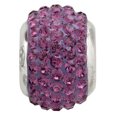 Amethyst Genuine Swarovski Crystal Charm Bead in Sterling Silver