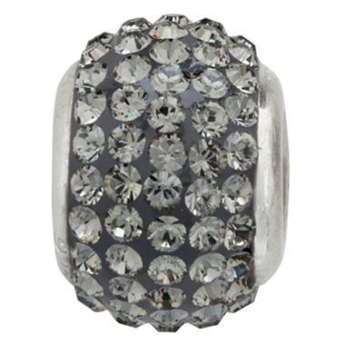 Jet-Grey Genuine Swarovski Crystal Charm Bead in Sterling Silver