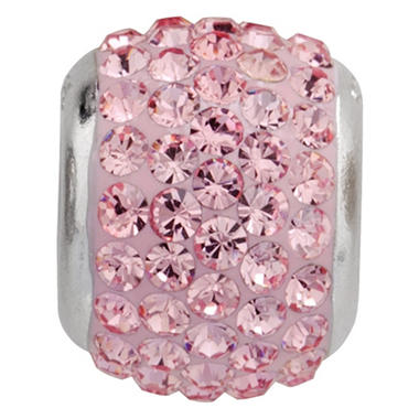Rose-Pink Genuine Swarovski Crystal Charm Bead in Sterling Silver