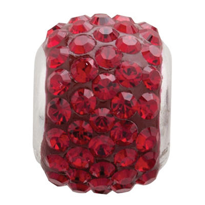 Ruby-Colored Genuine Swarovski Crystal Charm Bead in Sterling Silver