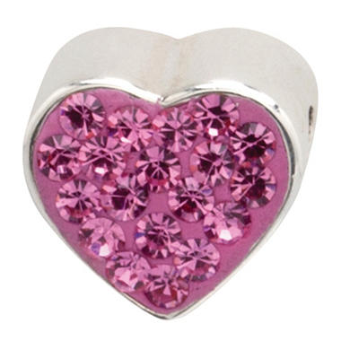 925 BEAD PINK HEART SPACER