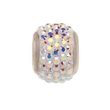 Aurora Borealis Genuine Swarovski Crystal Charm Bead in Sterling Silver