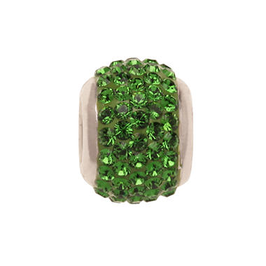 Fern Green Genuine Swarovski Crystal Charm Bead in Sterling Silver