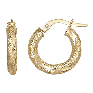 14KY EARRING 3X10MM TEXTURED HOOP
