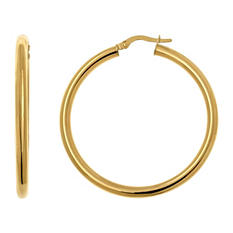 3x35mm Round Hoop Earring in 14K Yellow Gold