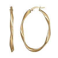 3mm Twisted Oval Hoop Earring in 14K Yellow Gold