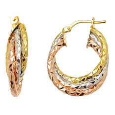 6x15mm Triple Hoop Earring in 14K Yellow, White, and Rose Gold