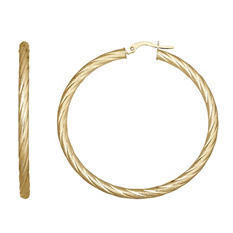 3x40mm Twisted Round Hoop Earring in 14K Yellow Gold