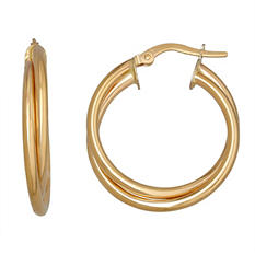 4mm Double Round Hoop Earring in 14K Yellow Gold