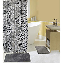 Addison Bath Mat and Shower Curtain Set, Classic Grey