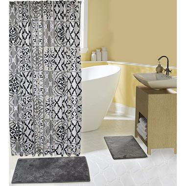 Addison Bath Mat And Shower Curtain Set Classic Grey