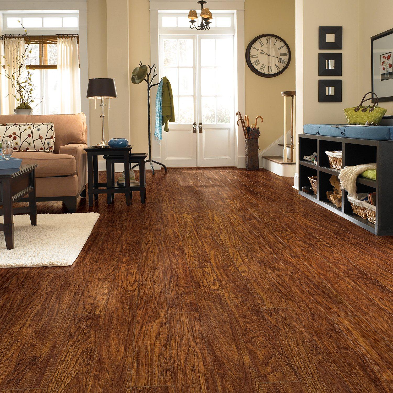 Traditional Living Premium Laminate Flooring - Handscraped Oak - 1 pk ...