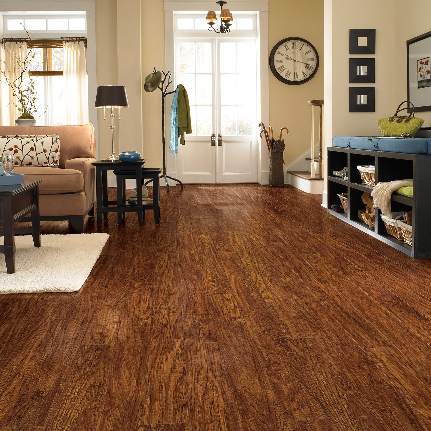 Traditional living premium laminate flooring handscraped for Traditional flooring