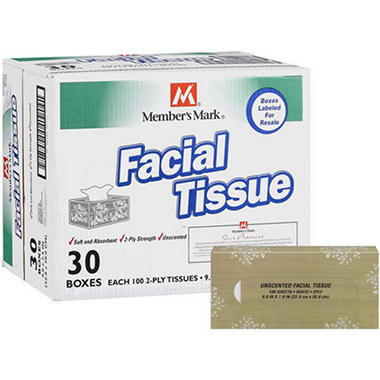 Member's Mark® Facial Tissue - 30/100ct boxes