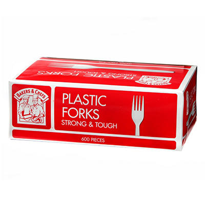 Bakers & Chefs Plastic Forks, White (600 ct.)