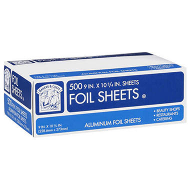 "Bakers & Chefs Aluminum Foil Sheets - 9"" / 500 ct."