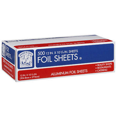 "Bakers & Chefs Aluminum Foil Sheets - 12"" x 10.75"" - 500 ct."