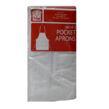 Bakers & Chefs White Pocket Apron - 3 pk.