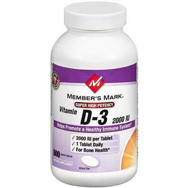 Member's Mark® Bitamin D-3 - 2000IU/500ct