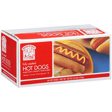 Bakers & Chefs All Meat Hot Dogs - 80 ct.