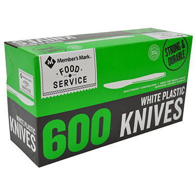 Bakers & Chefs White Plastic Knives - 600 ct.
