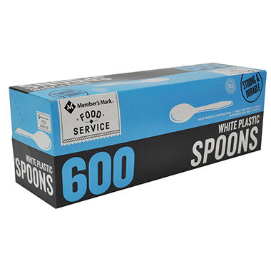 Bakers & Chefs Plastic Spoons, Heavyweight, White (600 ct.)