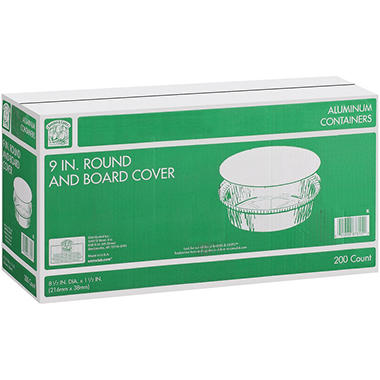 "Bakers & Chefs 9"" Round Aluminum Containers with Board Cover - 200 ct."