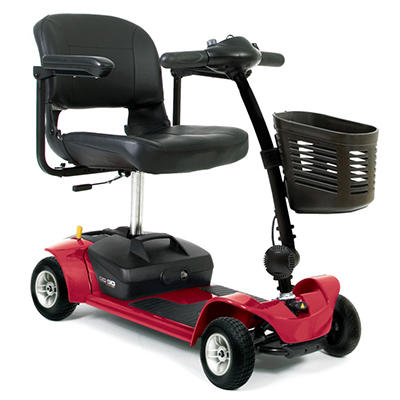 Red Pride Mobility Go Go Ultra X 4 Wheel Travel Scooter with Bonus Features Includes Rear Basket, Cup Holder and Weather Cover