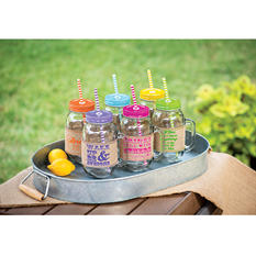 Mason Jar 6-piece Set with Burlap Sleeves and Reusable Straws