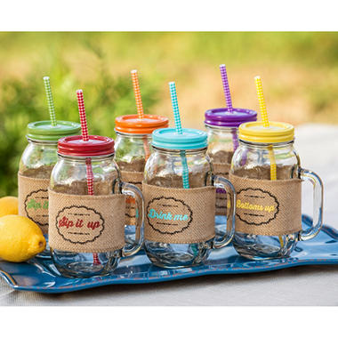 24 oz. Mason Jar Drinkware set of 6 with Burlap Sleeves & 12 Reusable Straws