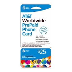 AT&T Worldwide PrePaid Phone Card - $25