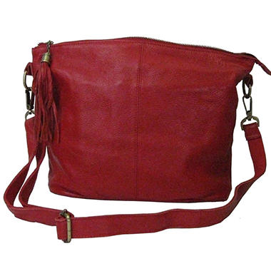 Sasha Leather Tassel Hobo Bag - Red