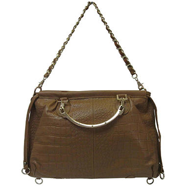 Sasha Crocodile Embossed Leather Satchel - Camel, Brown or Black