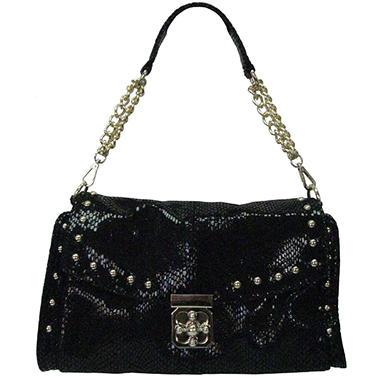 Sasha Python Embossed Leather Handbag - Black