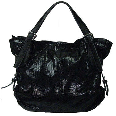 Sasha Reptile Embossed Tote Bag - Black