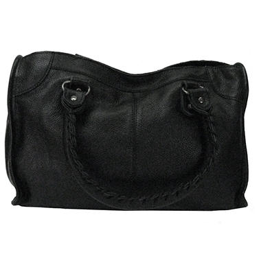 Sasha Whipstitch Satchel Bag - Black