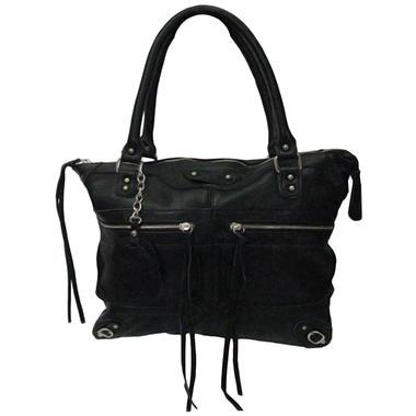 Sasha Tube Handle Tote Bag - Black